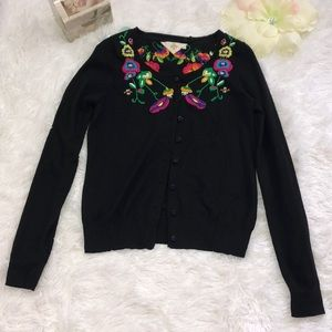 Anthropologie WHR embroiderer cardigan size s